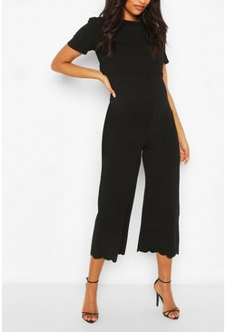 Black Maternity Scallop Nursing Culotte Jumpsuit