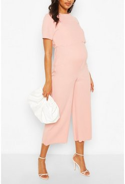 Rose pink Maternity Scallop Nursing Culotte Jumpsuit