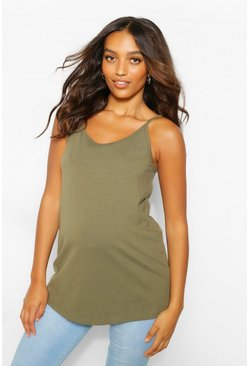 Khaki Maternity Strappy Cami Top