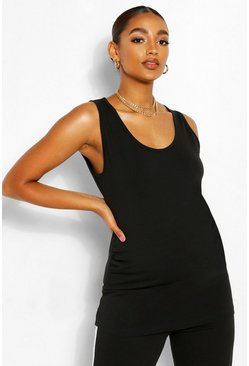 Black Maternity Scoop Neck Singlet