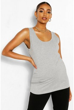 Grey marl grey Maternity Scoop Neck Singlet