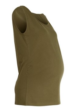 Khaki Maternity Scoop Neck Vest