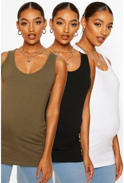 Khaki Maternity 3 Pack Scoop Neck Vest