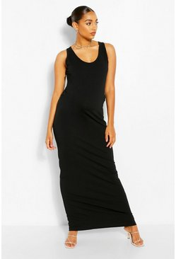Black Maternity Scoop Neck Jersey Maxi Dress
