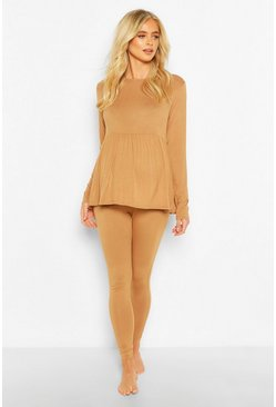 Camel Maternity Smock Lounge Set