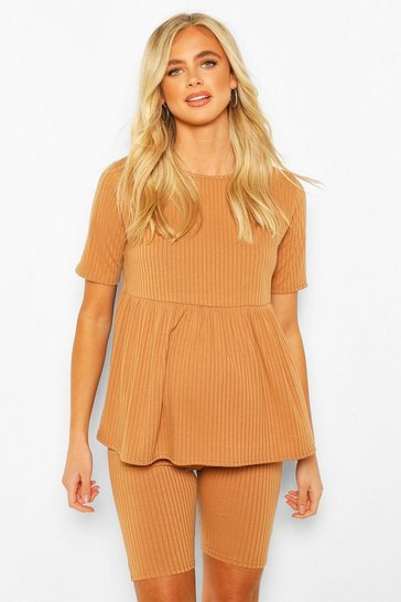 Camel beige Maternity Smock & Short Loungewear Set