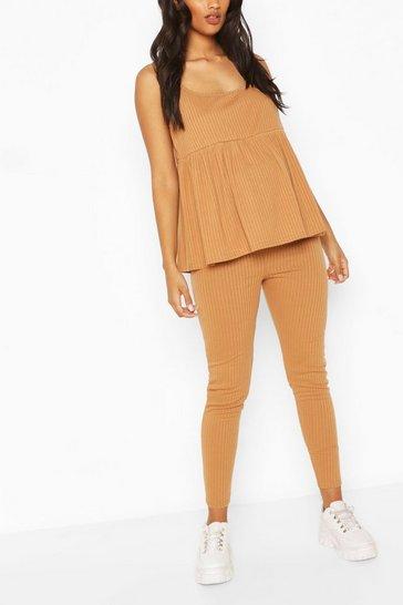 Camel beige Maternity Strappy Smock Loungewear Set