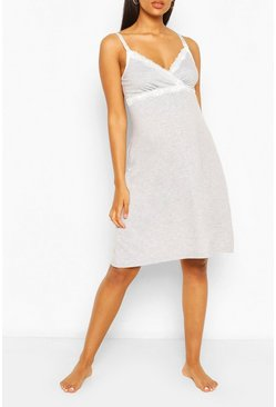 Grey Maternity Lace Trim Nursing Nightie