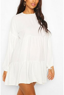 Ivory vit Maternity Tiered Tie Sleeve Smock Dress