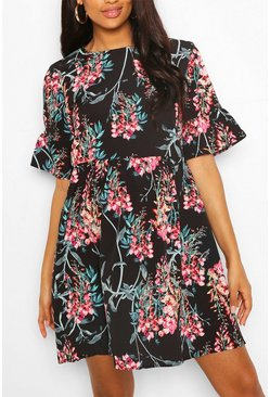 Black Maternity Satin Floral Print Smock Dress