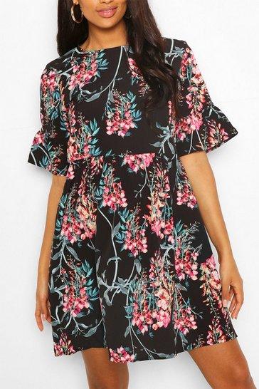 Black Maternity Satin Floral Print Smock Dress