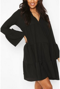 Black Maternity Woven Tiered Smock Dress