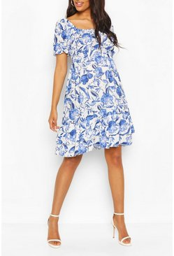 Blue Maternity Floral Woven Smock Dress