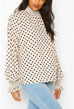 Black Maternity Shirred Polka Dot Smock Top
