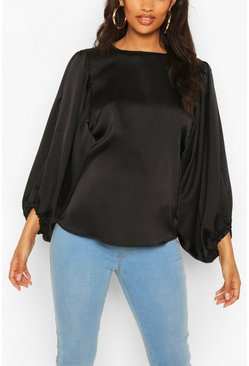 Black Maternity Drape Sleeve Satin Top