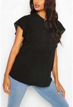 Black Maternity Woven Frill Sleeve Blouse