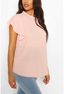 Blush pink Maternity Woven Frill Sleeve Blouse