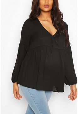 Black Maternity Drape Sleeve Woven Smock Top