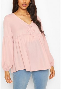 Pale pink pink Maternity Drape Sleeve Woven Smock Top