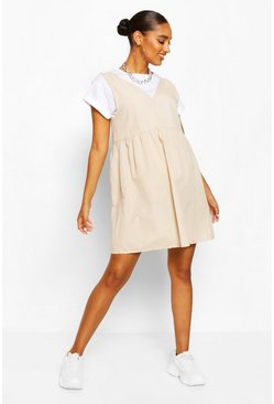 Stone Maternity Linen Smock Pinafore Dress