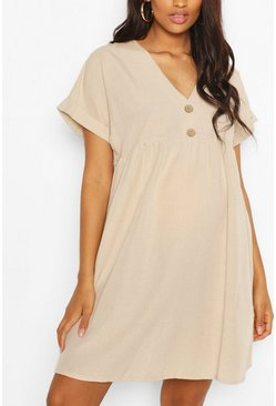 Stone beige Maternity Button Front Linen Smock Dress