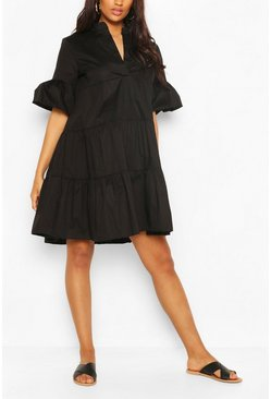 Maternity Tiered Cotton Smock Dress, Black