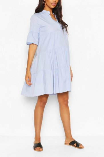 Pale blue Maternity Tiered Cotton Smock Dress