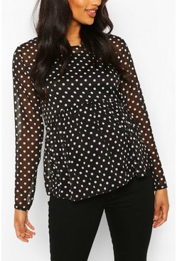 Black Maternity Polka Dot Mesh Top