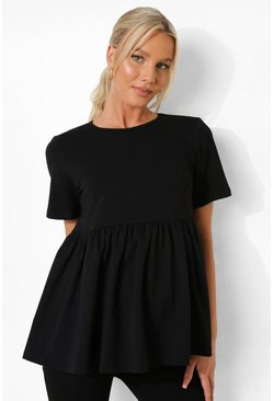 Black svart Maternity Cotton Smock Top