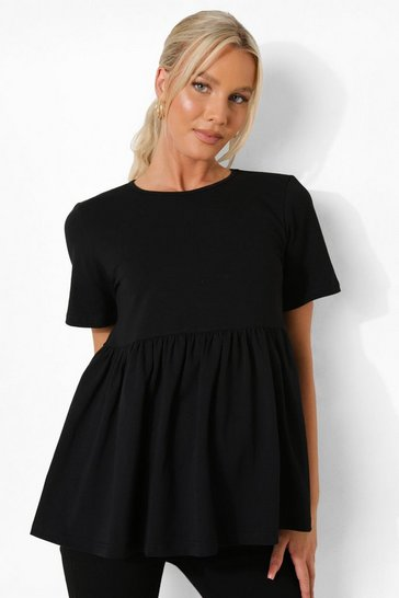 Black Maternity Cotton Smock Top