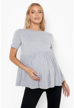 Grey marl Maternity Cotton Smock Top
