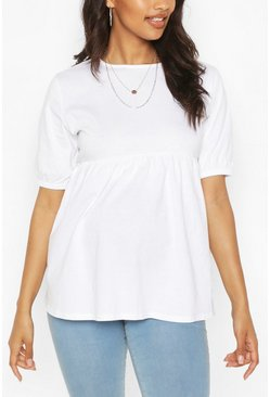 White Maternity Cotton Smock Top