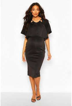 Black Maternity Double Layer Midi Dress