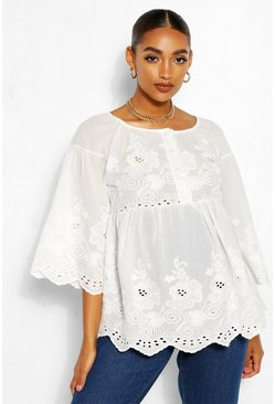 White Maternity Scallop Broiderie Anglais Smock Top