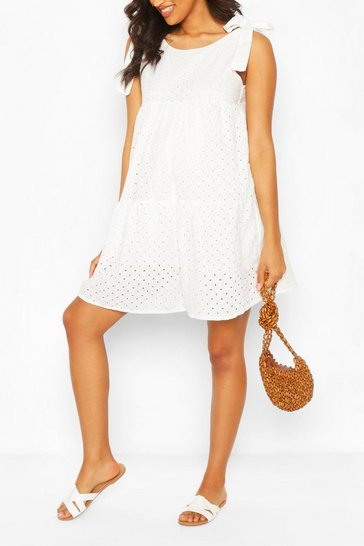 White Maternity Tie Shoulder Broderie Anglais Dress