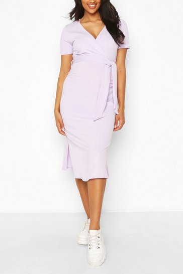 Lilac Maternity Ribbed Tie Dress