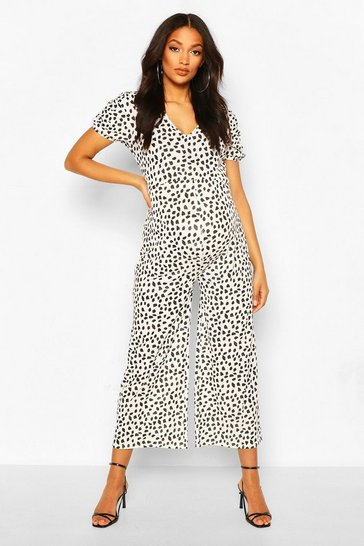 Black Maternity Polka Dot Ruched Sleeve Jumpsuit