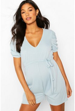 Celestial blue blue Maternity Ruched Sleeve Playsuit