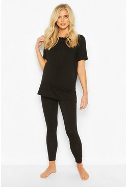 Black Maternity Button Front PJ Trouser Set