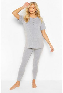Light grey grey Maternity Button Front PJ Trouser Set