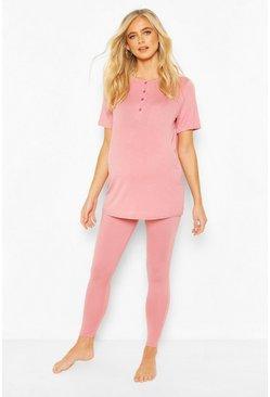 Rose Maternity Button Front Pyjama Trouser Set