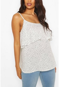 White Maternity Double Layer Polka Dot Cami