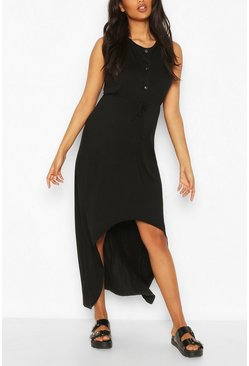 Black Maternity Nursing Button Front Midi Dress