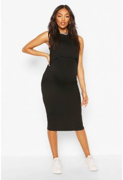 Black Maternity Nursing Bodycon Dress