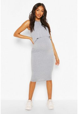 Grey marl grey Maternity Nursing Bodycon Dress