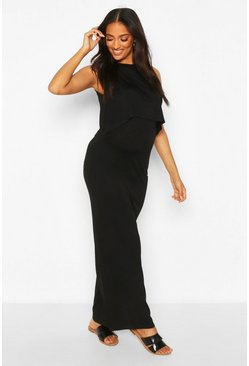Black Maternity Nursing Maxi Dress