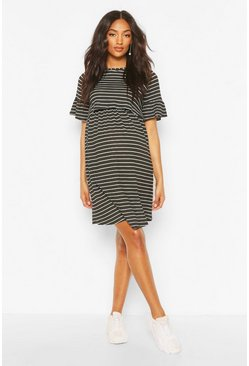 Black Maternity Stripe Nursing Smock Dress