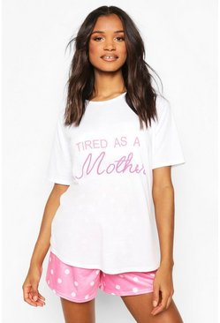 White Maternity Tired As A Mother PJ Short Set