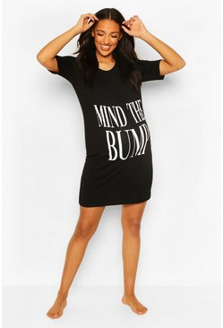 Black svart Maternity Mind The Bump Nightie