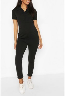 Black Maternity Utility Jumpsuit